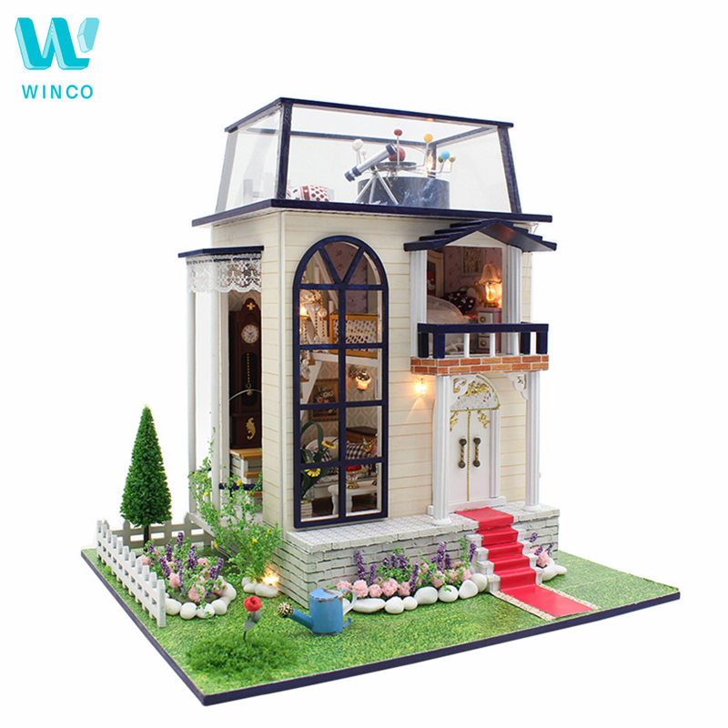 WINCO Doll House Wooden Furniture Diy House 3D Miniature Puzzle Assemble Dollhouse Kits Christmas Toy For