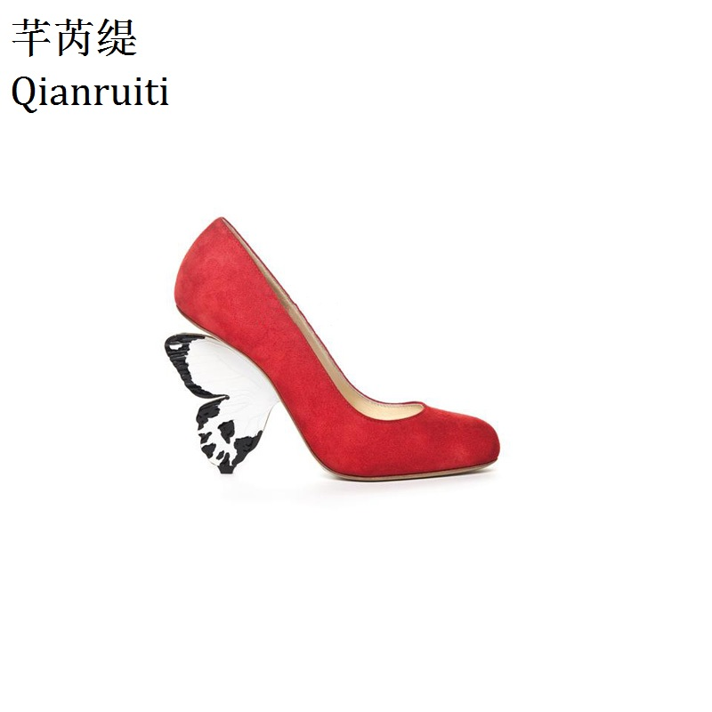 Qianruiti Red Yellow Faux Suede High Heels Shoes Strange Style Butterfly Heels Women Pumps Hot Sale Women Wedding Party Shoes janssen
