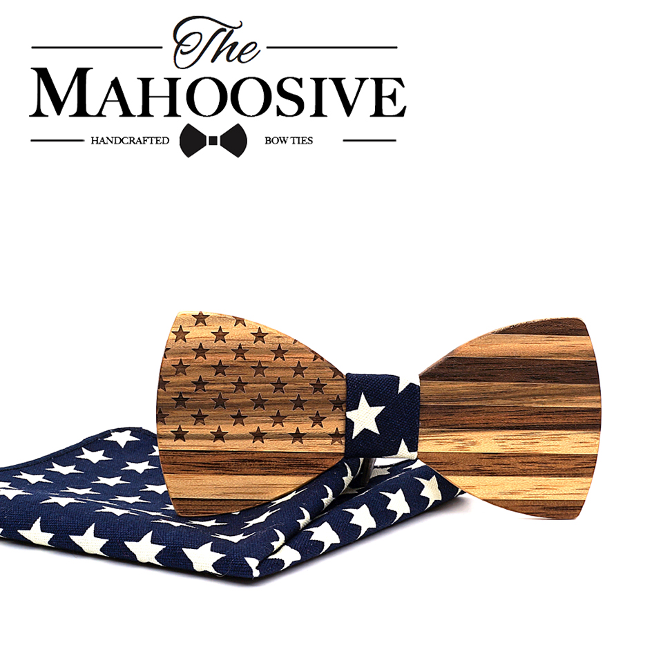Mahoosive Walnut Wooden Bow Ties For Men Wedding Neckwear Set Accessories USA Flag Handmade Solid Wood Bowtie Cravat Suits