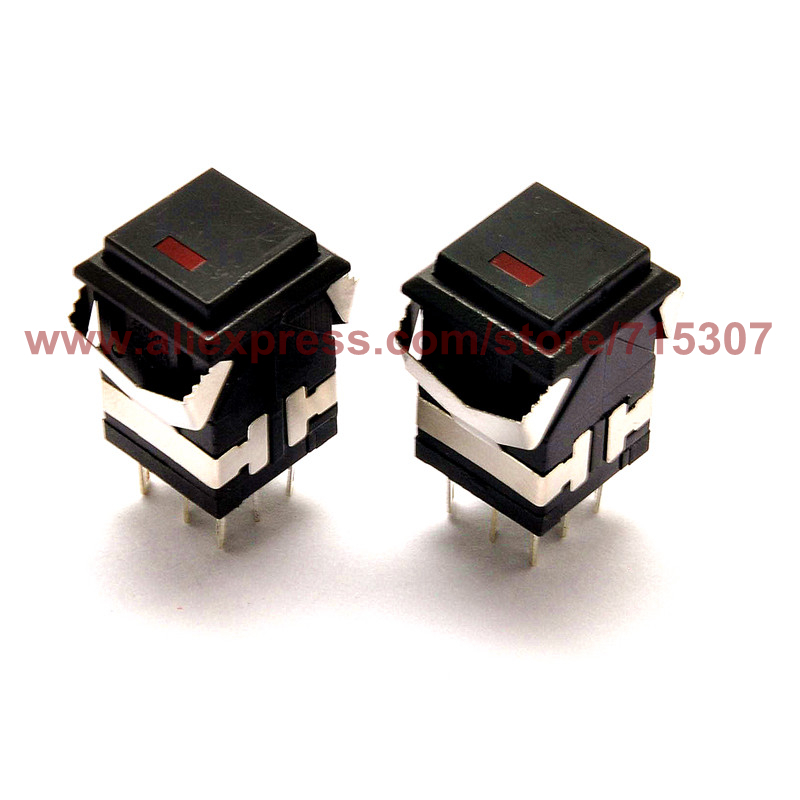 PHISCALE 10pcs self locking push button switch with light KD2-21 3A 250V 8pin black color 19x19mm tn2ss rotary button switch gear selection type 2 22mm with self locking