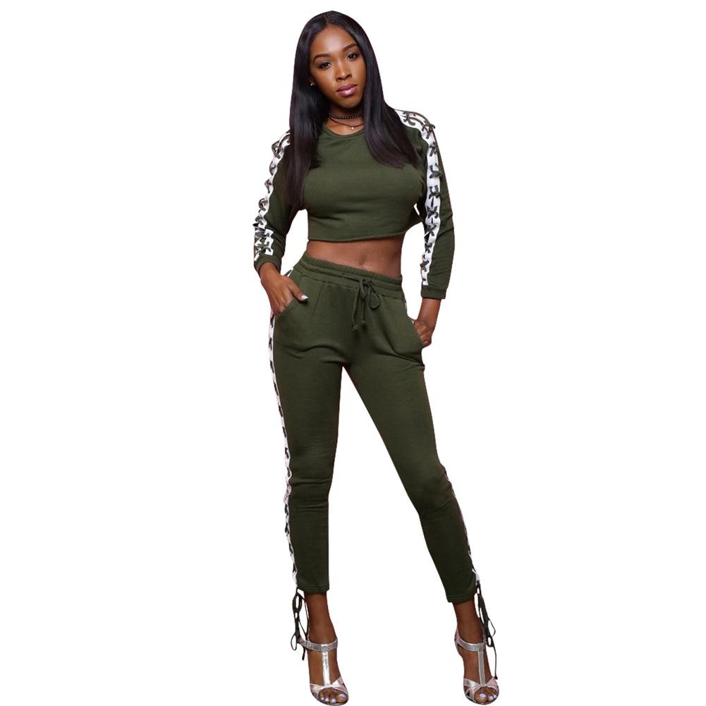 2018 Crop Top Femmes 2 Pièce Set Top Et Pantalon cordon Printemps Femme Survêtement À Manches Longues Sportwear Femmes Deux Pièces tenues