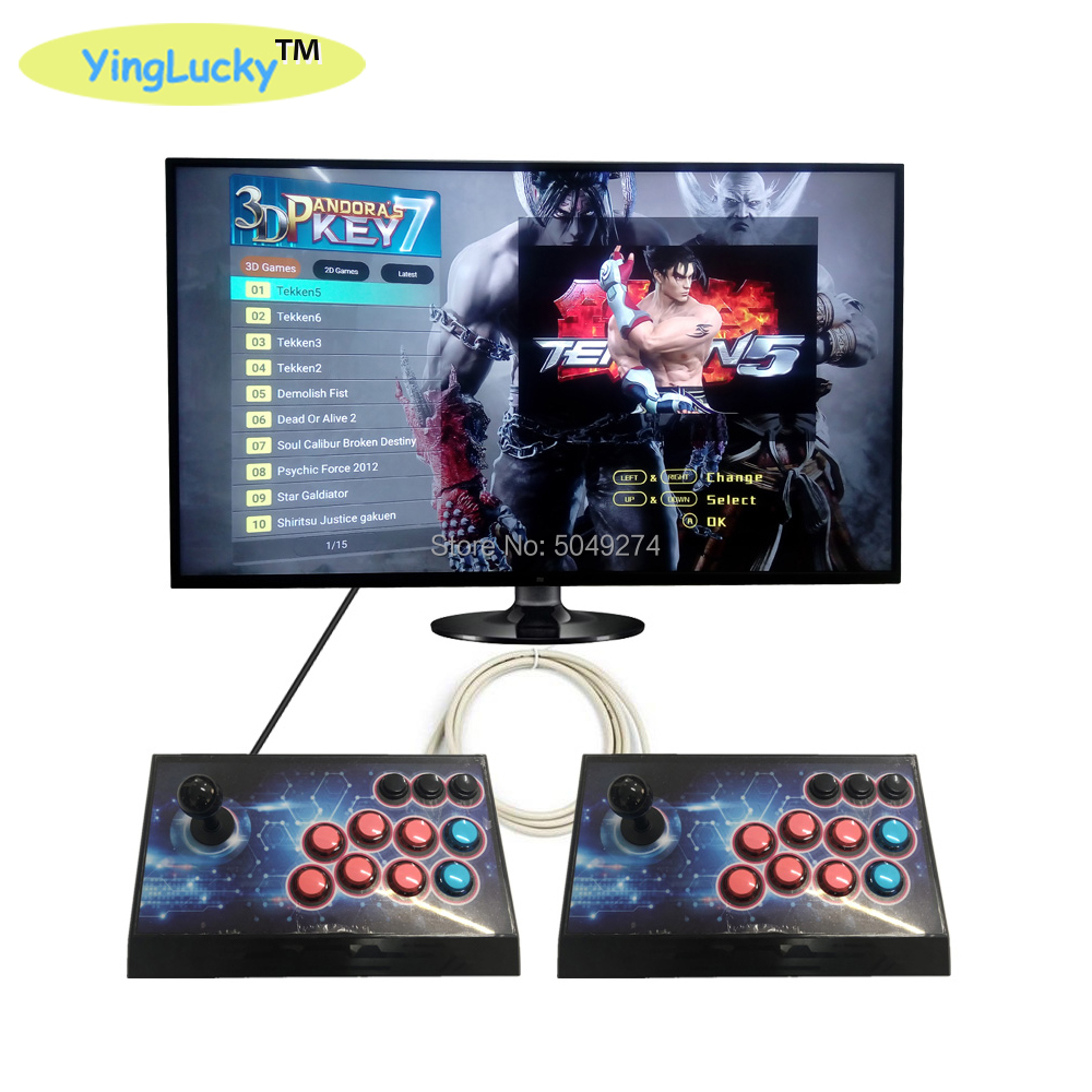 Box Key 7  3D Pandora Key Arcade Console With PCB Board 2 Player Home Use Controller 2323 Games Retro Video Game Machine