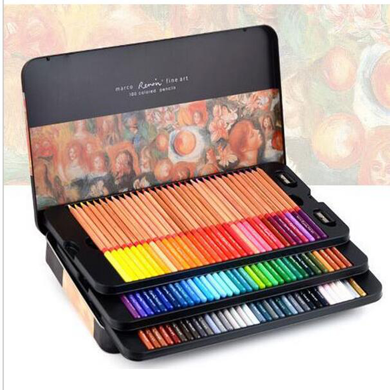 72 Color Marco Professional Colored Pencil Multi Color Artist Drawing Painting Set School Supplies Stationery карандаши tony moly my school looks multi color pencil 06
