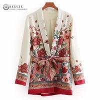 Vintage Floral Print With Belt Blazers Women Suit Jacket 2019 Fashion Long Sleeve Ladies Outerwear Casual Blazer Feminino Okd109