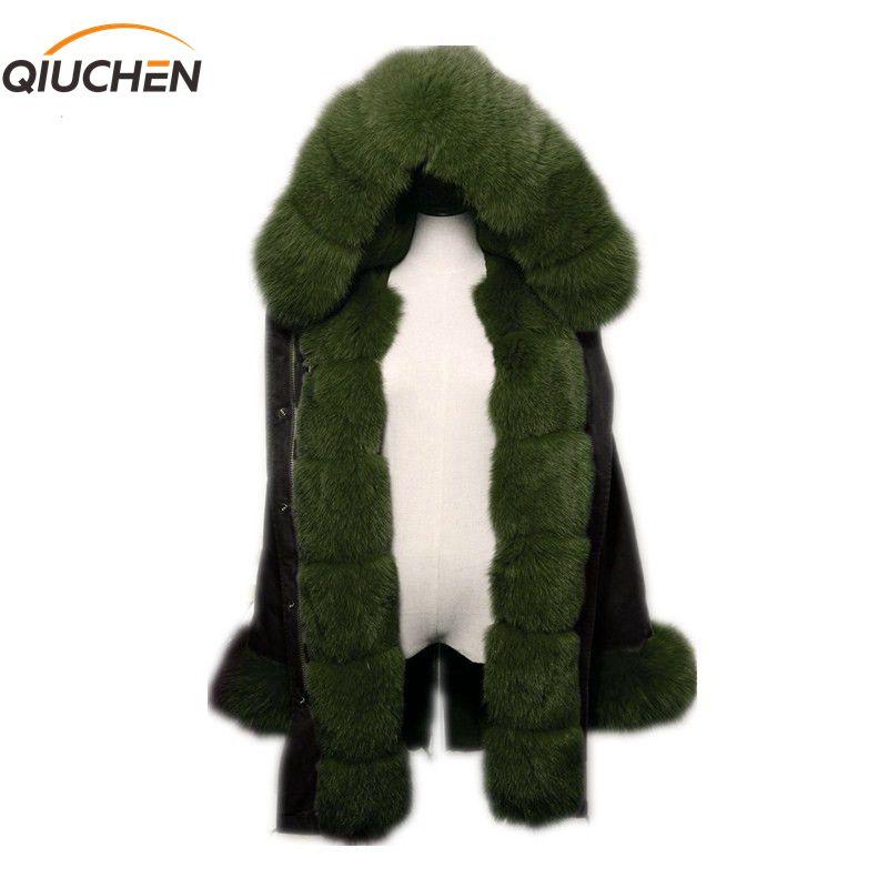 QIUCHEN PJ6004 real fur parka com Capuz de pele de raposa real e placket longo modelo mulheres jaqueta preta com pele de coelho rex forro de pele