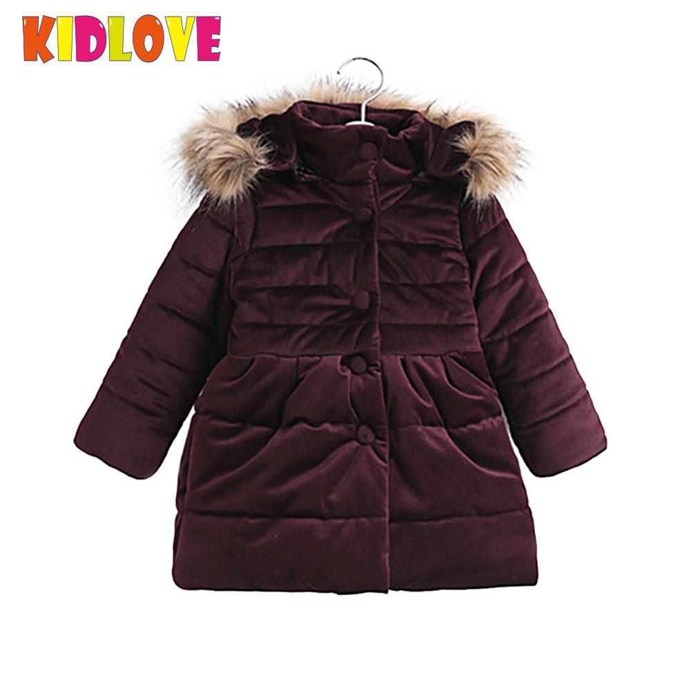 Kidlove Girls Thickened solid fashion parkas Bow-tie Cotton-padded Jacket Plush Collar Hoodie Warm big size Coat 11.11 plus size funnel collar maxi asymmetric hoodie