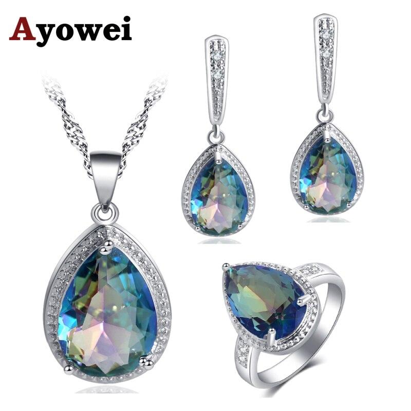 Ayowei For Women Water Drop Design 925 Silver Blue Colorful Zircon Earrings Necklace Rings Jewelry Sets JS737A