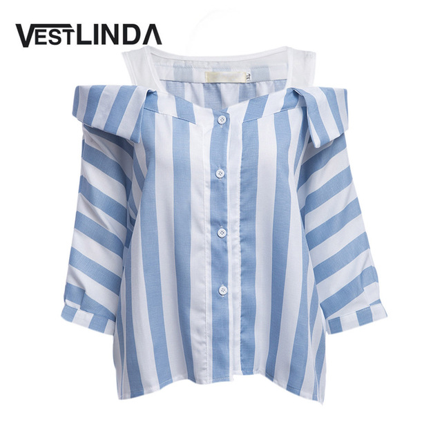 b6a92ddfab3 US $16.99 |VESTLINDA Striped Blouse Plus Size 5XL Women Blouses Half Sleeve  Button Design Loose Ladies Blouse Spaghetti Strap Top Shirt-in Blouses & ...