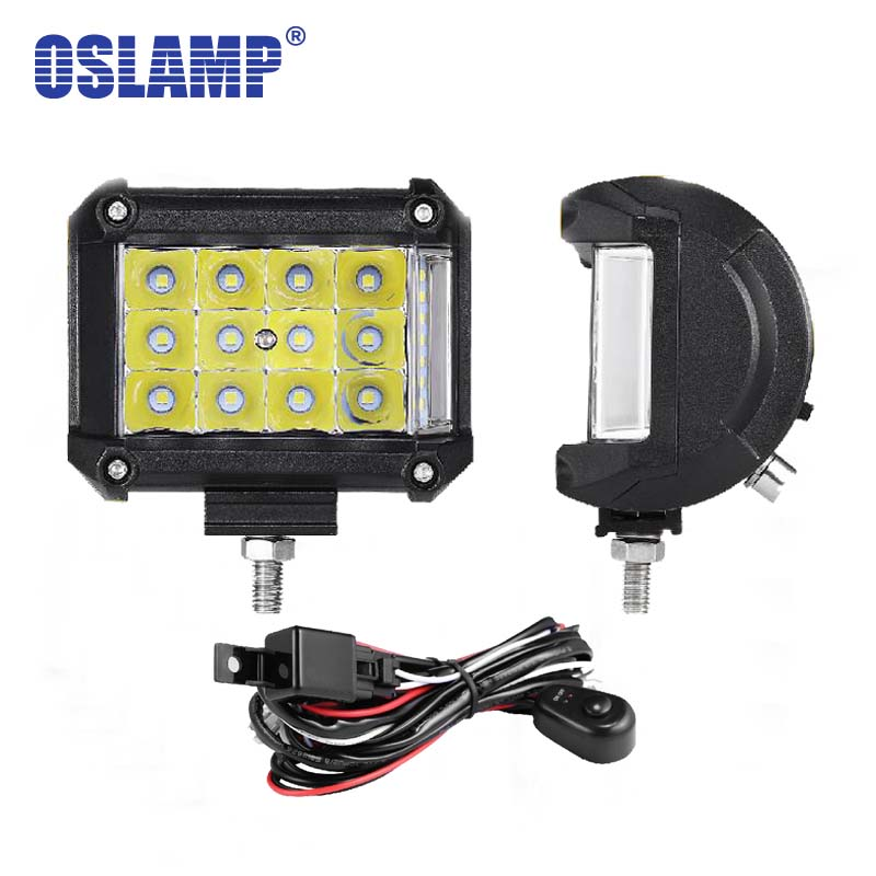 Oslamp 2pcs 4 Combo Beam LED Work Light 12V 24V 6000K Led Car Lights for SUV