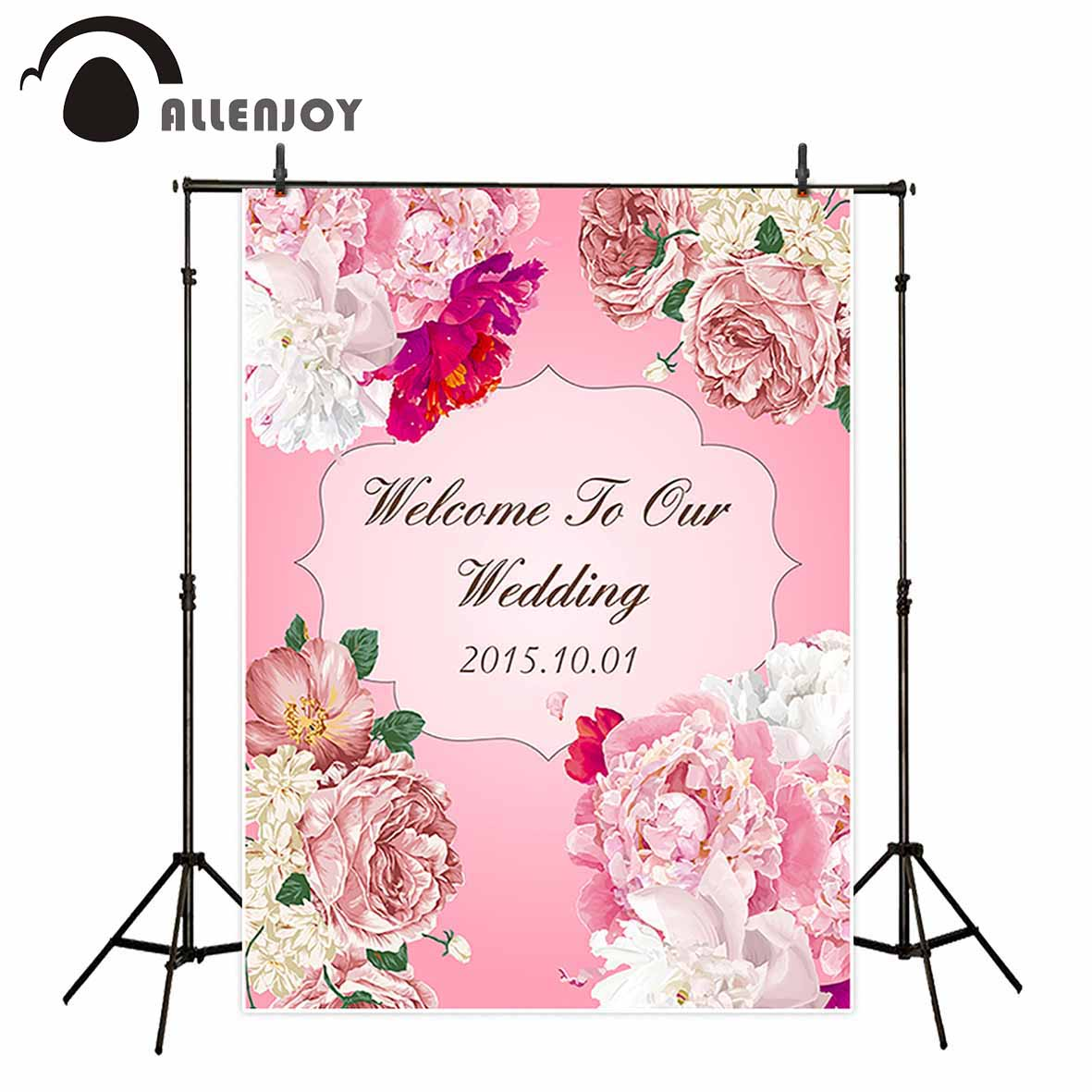 Allenjoy photographic background Pink flowers HD customized romantic love new backdrop photocall photo printed customize