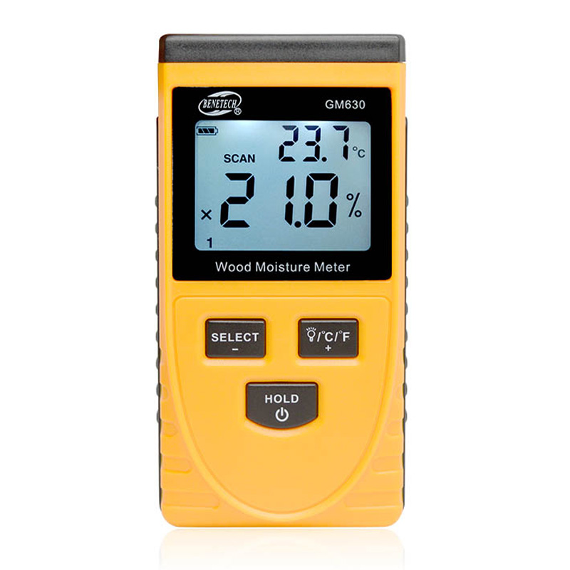 Digital Induction Wood Moisture Meter Temperature Humidity Tester Induction Moisture Tester LCD Display Hygrometer GM630
