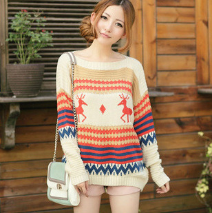 Women sweater New Year Christmas 2014 listed the autumn and pullovers knitted winter hot cute deer women sweaters and pullovers