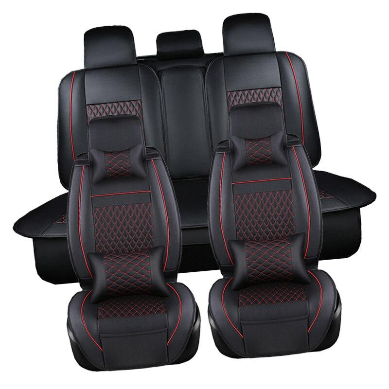 Cuoio DELL'UNITÀ di elaborazione Automotive Universal Car Seat Coprisedili t-shit Fit sedile accessori copertura per kia aio ford focus 2 lada granta Toyota