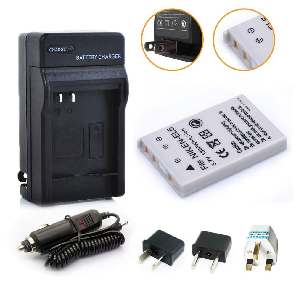 1800 mAh EN-EL5 ENEL5 Cámara batería akku + cargador para Nikon Coolpix P530 P520 P510 P100 P500 P5100 P5000 P6000 p90 P80 cámaras