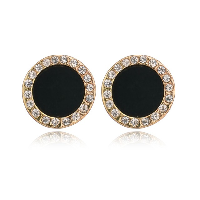 Friendly Stud Earrings Rhinestone Round