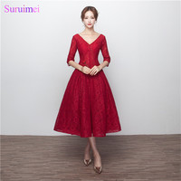 Wine Red Bridesmaid Dresses With Half Sleeves V Neck Corset Lace Up Tea Length Brides Maid