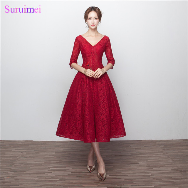 Wine Red Bridesmaid Dresses with Half Sleeves V Neck Corset Lace Up Tea  Length Brides Maid Dress Vestidos De 14f094474019