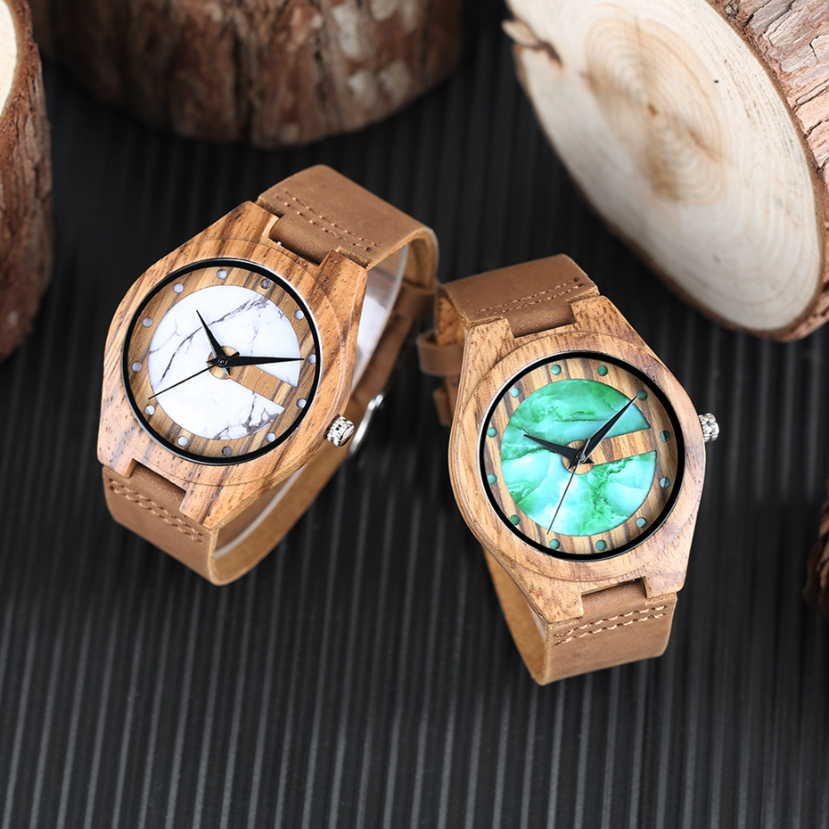 Unique Letter C Shape Luxury Green Marble Dial Men's Watch Genuine Leather Wooden Watches Quartz Watches Men Relogio Masculino Gifts (13)
