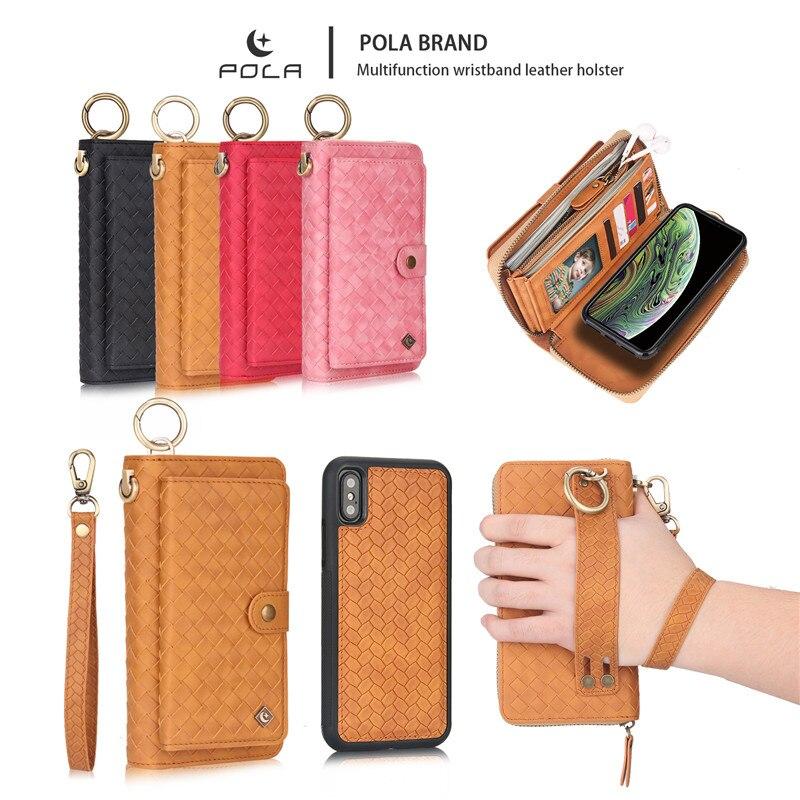 Pour iphone xs max étui iphone 8 plus housse xr grande capacité luxe en cuir pochette portefeuille porte-carte organisateur dames sac à main 7 p