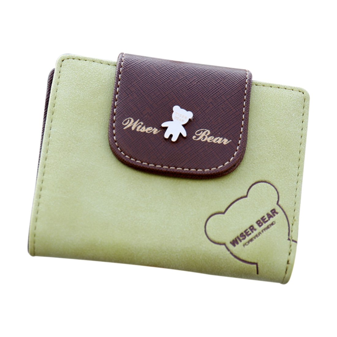 VSEN 2X Fashion Lovely Bear Wallet Female Leather Small Change Clasp Purse Money Card Coin Holder Girls Women Purses(Green)