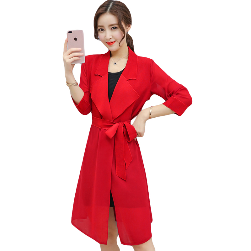 2018 New Fashion Women Spring Summer   Trench   Coat 3 Colors Female Elegant Drawstring Waist Long Outerwear Loose Clothes CM2109