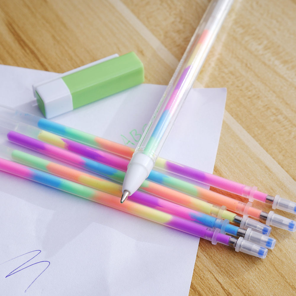 1 Pen + 5 Refill/Set Watercolor Chalk Gel Pen Diy Decoration For Album Color Pens Set Korean Stationery School Suplies jianwu 10pcs set japan zebra jf 0 5 gel pen refill quick drying refill apply to jjz15 jj2 jj9