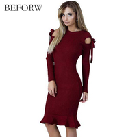 BEFORW Sexy Party Bodycon Ruffle Sweater Dresses Casual Knitted Dresses Autumn Winter New Arrival 2017 Black
