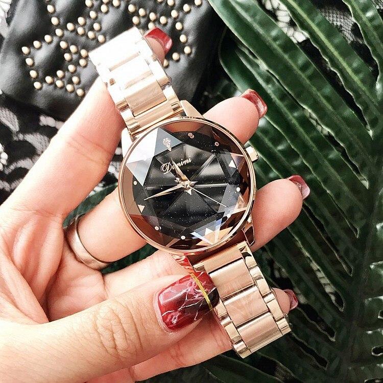 2019 Luxe Merk lady Crystal Horloge Vrouwen Jurk Horloge Fashion Rose Gold Quartz Horloges Vrouwelijke Rvs Horloges-in Dameshorloges van Horloges op  Groep 2