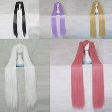 Hidan hiçbir Aria Kanzaki H Aria pembe 120CM uzun sentetik saç Cosplay kostüm partisi peruk + 2 Ponytails + peruk kap