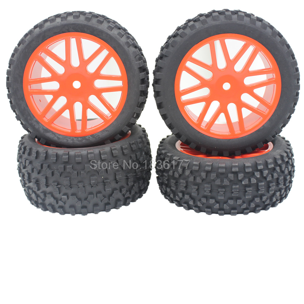 4 Pieces Front & Rear Buggy Tyres Wheels 12mm Hex For 1/10 RC Car Fit HSP STORMER 94105 Redcat Shockwave Nitro Buggy 2pcs rc car 1 10 hsp 06053 rear lower suspension arm 2p for 1 10 4wd rc car hsp 94155 94166 94177