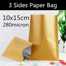 Free Shipping 200pcs 10cm * 15cm  Small Heat Seal Paper Bag 3 Sides Flat Paper Bag Vacuum Foil Sealed Bag