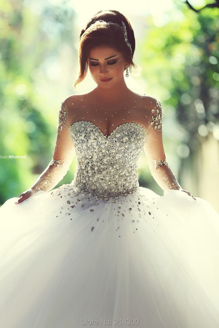 Modest Crystal Ball Gown Wedding Dresses With Sleeves Princess