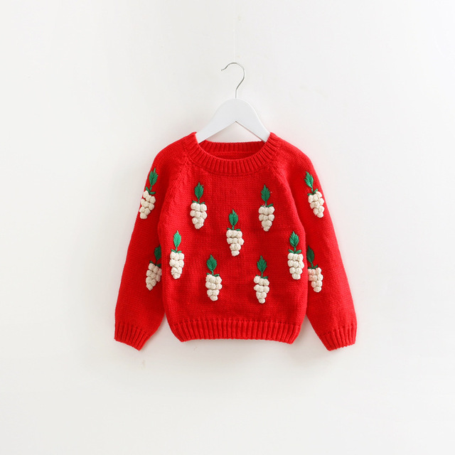 Caliente! 2015 nueva otoño invierno suéter muchacha encantadora uvas 3D print punto suéter de los niños 2 ~ niñas 7 age ropa bebé