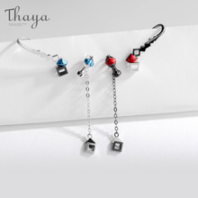 Thaya S925 Silver Earrings The Secret Of Chess  Design Asymmetrical Earring Retro Funny Jewelry For Women Party Gift