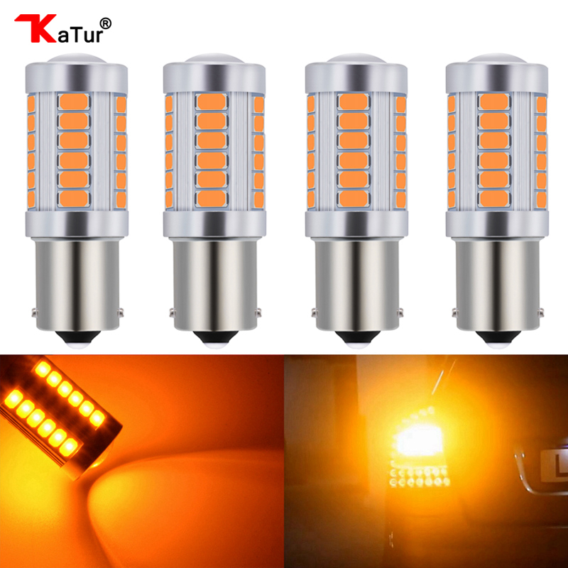 4pcs 1156 BAU15S <font><b>PY21W</b></font> 150 Degree S25 1056 1156PY <font><b>Orange</b></font> Red Whtie Blue Car <font><b>LED</b></font> Lamp Turn Signal Light DC 12V 33-SMD 33 SMD 5630 image