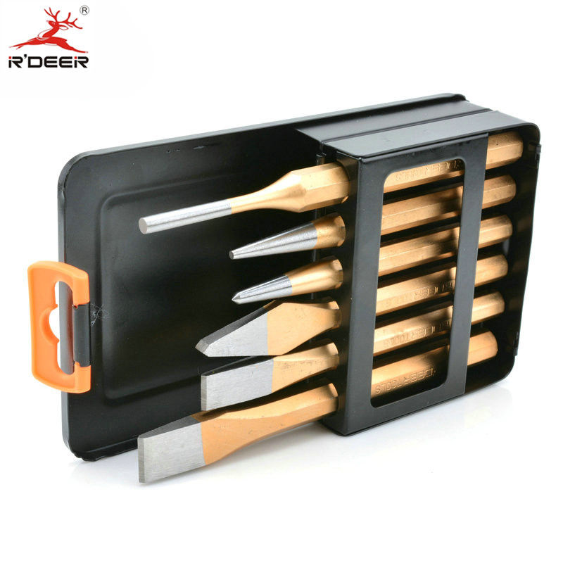 RDEER Chisel Chrome Vanadium Pin Punch Sets For Stone Processing Cold Chisels Punches Tools stone cold cowboy