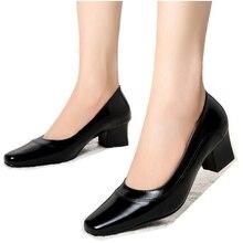 Женщины туфли на высоком каблуке натуральная кожа мед-пятки женская обувь для женщин офис туфли 2016 высокое качество леди большие размеры женской обуви 319-A4