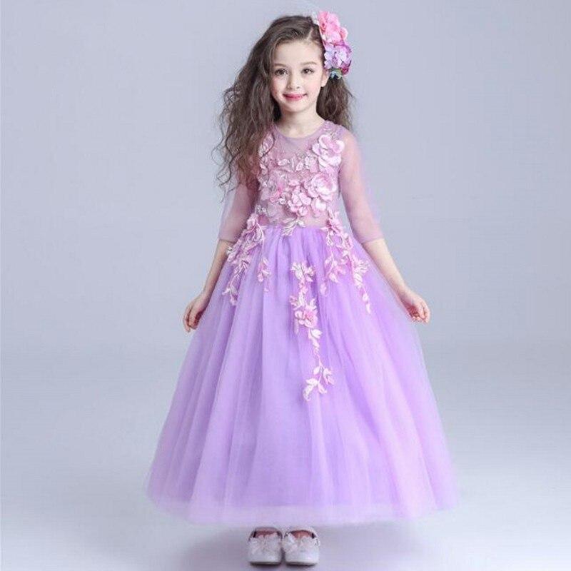 Purple flower girls dress long sleeves wedding pageant for Purple summer dresses for weddings