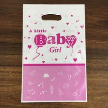6pcs A Little Baby girl boy theme PE printed plastic candy bags,shopping gift bag for Kids happy birthday event party supplies