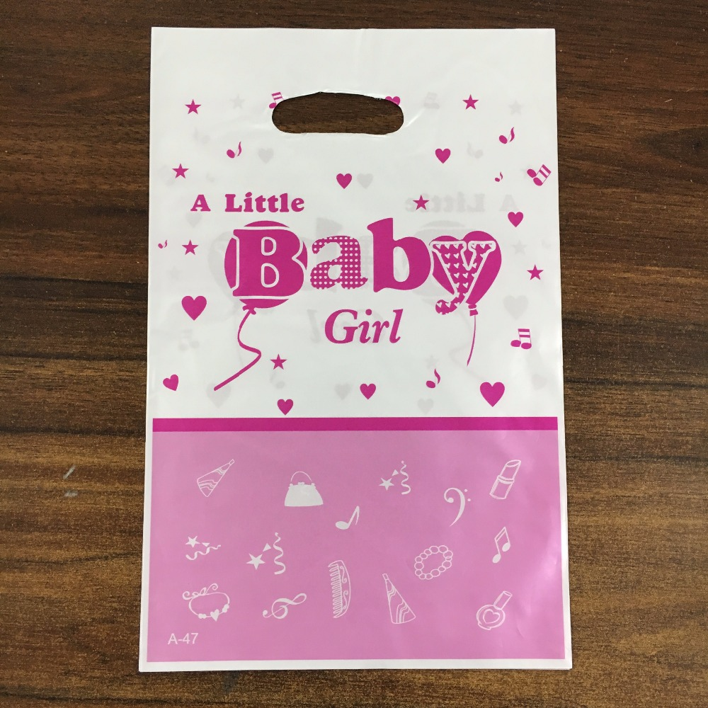 12pcs A Little Baby girl boy theme PE printed plastic candy bags,shopping gift bag for Kids birthday event party supplies