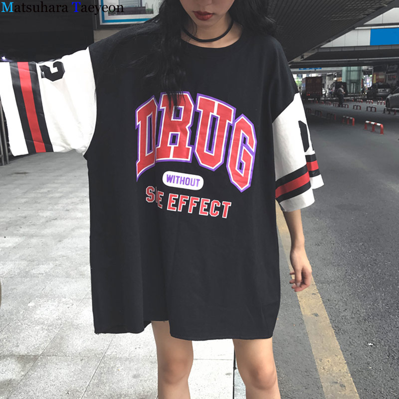 2019 summer harajuku t shirt women large size Letter Print Hip Hop women's t shirt chemise femme Fashion Popular women tshirt-in T-Shirts from Women's Clothing on AliExpress - 11.11_Double 11_Singles' Day 1