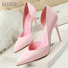 New women high-heeled shoes simple fashion with high-heeled shallow mouth pointed sexy thin professional women's singles shoes стоимость