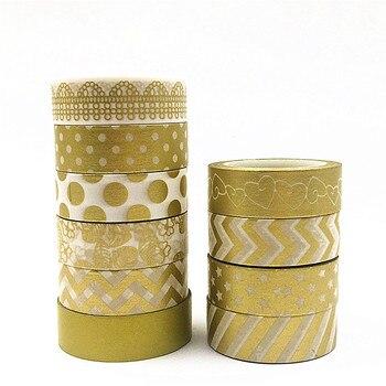 Wysokiej jakości złota folia 10m taśma papierowa kropka, pasek, ananas, serce boże narodzenie dekoracyjne taśmy washi 1 sztuk