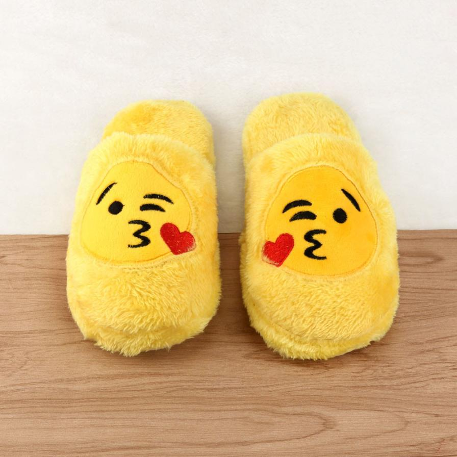Cartoon Emoji Women Winter Slippers Lovely Shoes Fur Slippers Yellow Luxury Shoes Women Indoor Mules Ladies Slides Warm Shoes high quality new autumn winter velvet ladies slippers women indoor rubber sole waterproof skid warm shoes woman zapatillas emoji