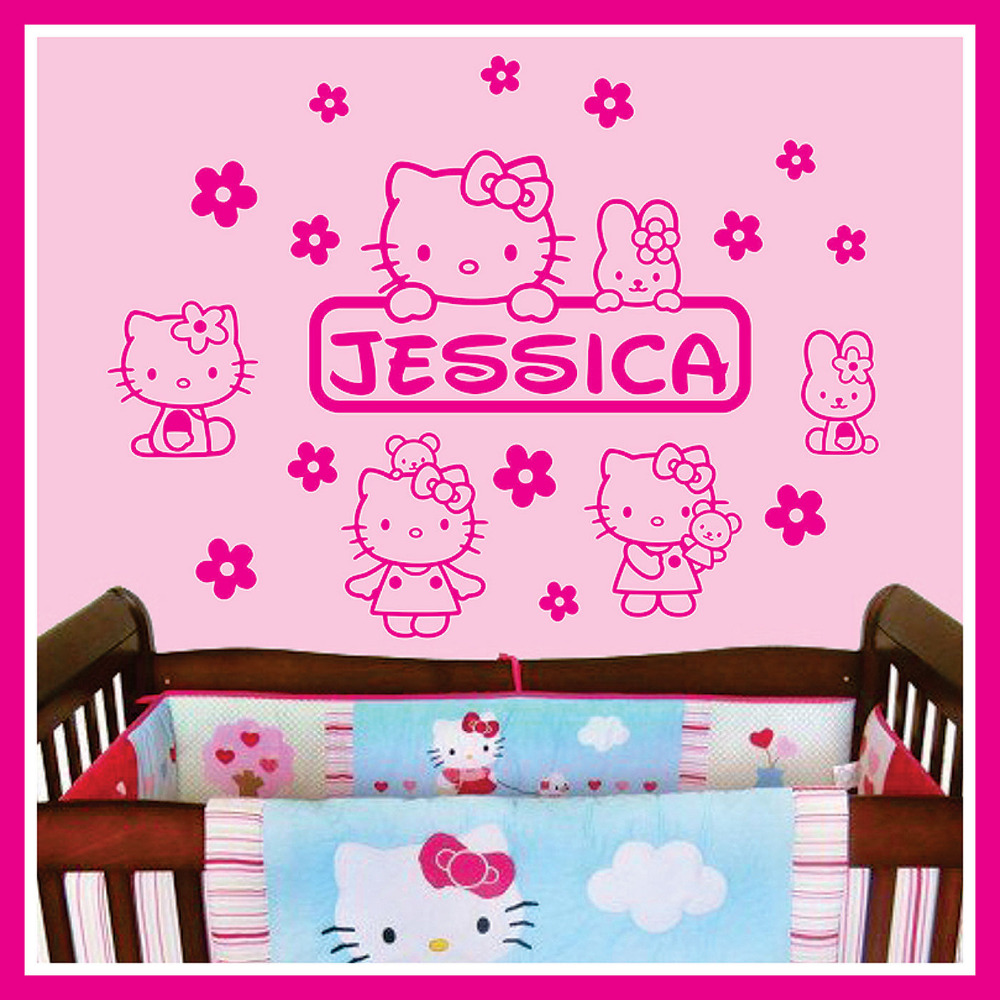 Hello kitty bedroom wall stickers - Baby Name Vinyl Wall Decal Sticker Art Decor For Kids Nursery Room Wall Stickers Hello Kitty In Wall Stickers From Home Garden On Aliexpress Com