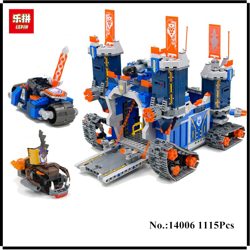 In Stock LEPIN 14006 1115Pcs Nexus The Fortrex Castle Knights Building Block Clay Aaron Fox Axl Compatible with 70317 Bricks Toy hot sy762 nexus nick knights mech robot building block clay macy axl lance beast master moltor bricks block figure toys for kids