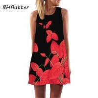 BHflutter negro rojo estampado Floral Vestido mujer moda sin mangas Casual suelto verano vestido A-line Fiesta vestidos mujer 2018
