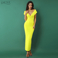 Adyce 2018 Elegant Women Bandage Dress Sexy Yellow Sleeveless V Neck Nightclub Celebrity Party Dress Woman Maxi Dress Vestidos