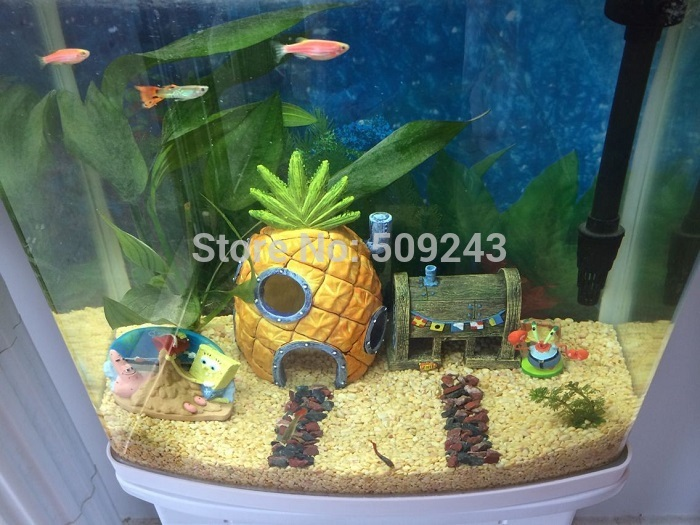 New 2pc set spongebob pineapple house krusty krab for for Spongebob fish tank