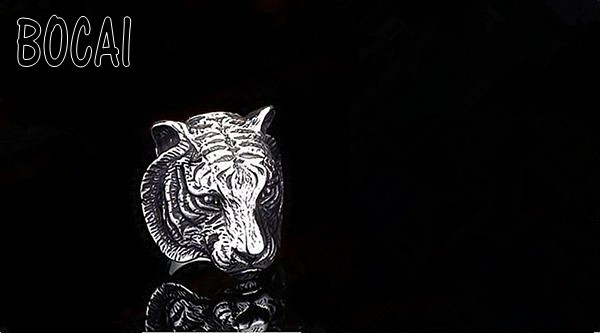 Domineering tiger head titanium ring steel men 's index finger ring jewelry